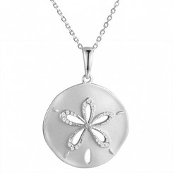 Sterling Silver Pave Crystal Sand Dollar Pendant w/ chain