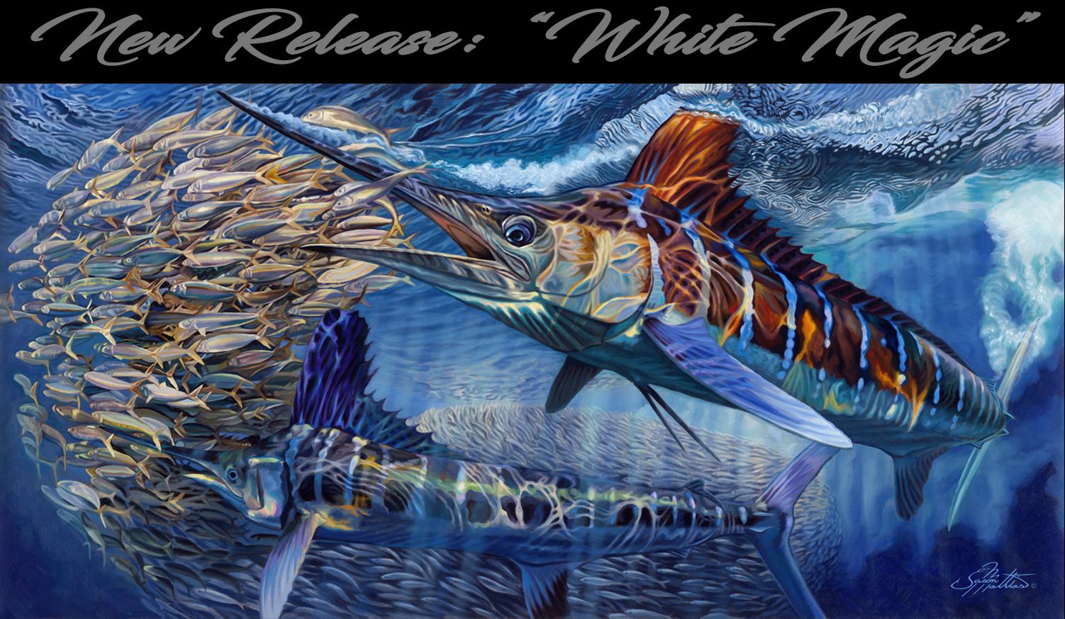 White Marlin, painting, art, underwater, baitball, prints,  jason mathias