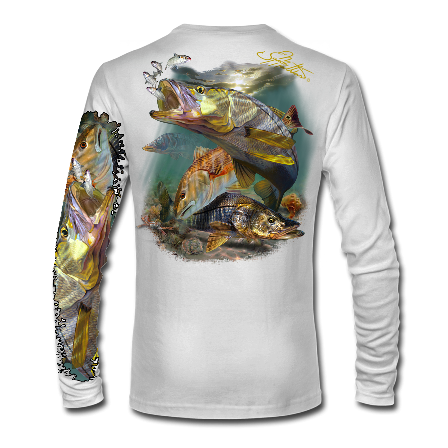 inshore-redfish-snook-back-white-jason-mathias-shirt.png