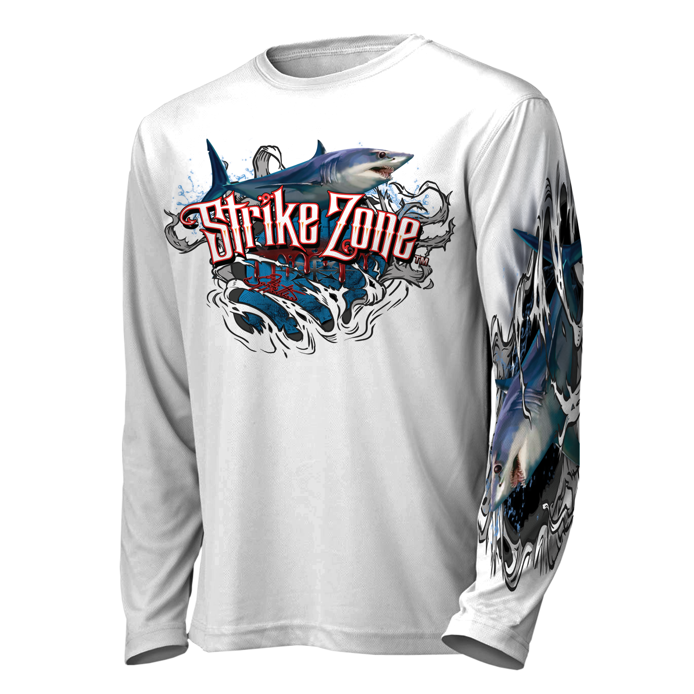 jason-mathias-strike-zone-mako-shark-fishing-shirt-front-white.png