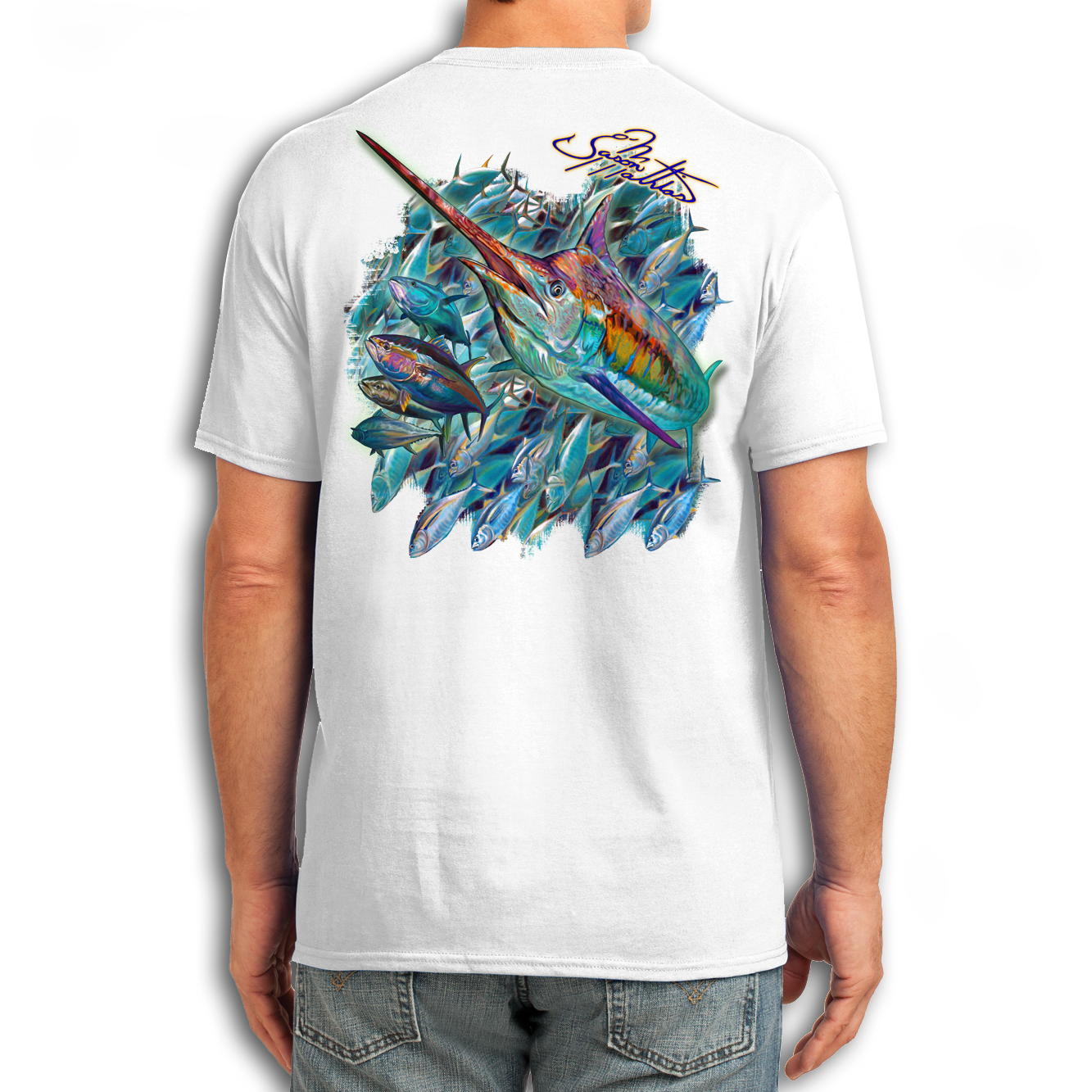 t-shirt-short-sleeve-white-jason-mathias-art-marlin-tuna-school.png
