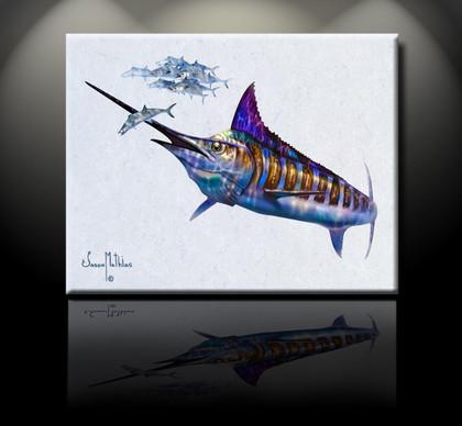 In this vision, skilled artist Jason Mathias masterfully portrays a Blue Marlin spearing a Mackerel.