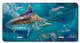Jason Mathias Heavy Duty Aluminum Metal License Plates! Artwork of a Black Marlin fishing for Shark Mackerel is Featured in a Radiant Shiny High Gloss! A perfect gift for the avid fisherman who enjoys sportfishing, gamefish and art.