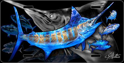 Jason Mathias Heavy Duty Aluminum Metal License Plates! Artwork of a Blue Marlin chasing Yellowfin Tuna is Featured in a Radiant Shiny High Gloss! A perfect gift for the avid fisherman who enjoys sportfishing, gamefish and art.