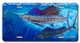 Jason Mathias Heavy Duty Aluminum Metal License Plates! Artwork of a couple of Sailfish balling up bait is Featured in a Radiant Shiny High Gloss! A perfect gift for the avid fisherman who enjoys sportfishing, gamefish and art.