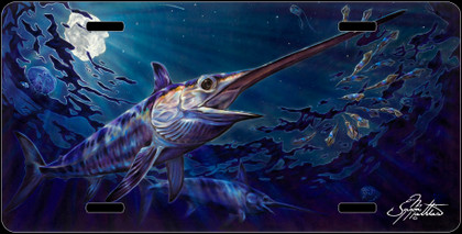 Jason Mathias Heavy Duty Aluminum Metal License Plates! Artwork of a couple of Swordfish chasing squid in a underwater night scene is Featured in a Radiant Shiny High Gloss! A perfect gift for the avid fisherman who enjoys sportfishing, gamefish and art.