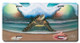 Jason Mathias Heavy Duty Aluminum Metal License Plates! Artwork of a Sea Turtle on the beach standing guard over an ocean wave, sailfish, Dolphins, pelicans and seashells is Featured in a Radiant Shiny High Gloss!
