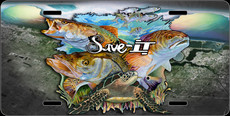 "Jason Mathias Heavy Duty Aluminum Metal License Plates! Artwork of a the prized speciece of the Indian River Lagoon that we need to save from water polution, Snook, Trout and Redfish is Featured in a Radiant Shiny High Gloss! A perfect gift for the avid fisherman who enjoys sportfishing, gamefish and art. Help save the Indian River Lagoon by rocking one of these ""Save-IT"" License Plates. A part of the proceeds will go to the river coalition. Together we can stop the dumping of water from Lake Okeechobee into our beautiful and important ecosystems here in the Indian River Lagoon. With your help one day our children can enjoy and learn from this amazing and natural habitat just as we have and for generations to come."