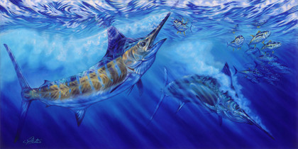 """In this vision, skilled artist Jason Mathias masterfully portrays Blue Marlin lighting up as they muscle their way through a school of Yellowfin tuna. ORIGINAL: Traditional painting,""""36x72"""" oil on canvas."""