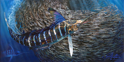 """In this vision, skilled artist Jason Mathias masterfully portrays a Striped Marlin completely lit up as he balls up a massive school of tinker mackrel.ORIGINAL: Traditional painting,""""36x72"""" oil on canvas."""