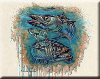 In this vision, skilled artist Jason Mathias masterfully portrays a couple of King Mackerel attacking a school of lively greenies.
