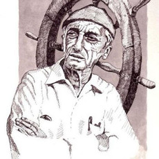 "(Original) ""Jacques Cousteau pen and ink"" (SOLD)"