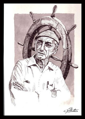 """In this vision, skilled artist Jason Mathias masterfully portrays dive legend """"Jacques Cousteau"""" with a fine pen and a splash of ink. This piece revieals Mathias's beautiful cross hatching techniques.  ORIGINAL: Traditional painting,""""8x12"""" pen and ink on board."""