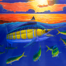 "In this vision, skilled artist Jason Mathias masterfully portrays A Blue Marlin and a school of Mahi as they brake the golden surface of a sunset ocean. This was Jason Mathias's first Marlin painting that he started at the end of his senior year in high school.   ORIGINAL: Traditional painting,""36x48"" acrylic on canvas.  Year completed (2000/2001)  Original is available. Comes with a beautiful museum quality frame."