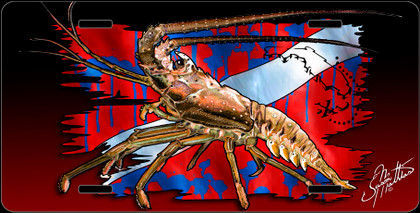 Features: Jason Mathias Heavy Duty Aluminum Metal License Plates! Artwork of a Lobster infront of a dive flag is Featured in a Radiant Shiny High Gloss! A perfect gift for the avid fisherman who enjoys sportfishing, gamefish and art. Fine Art in Vivid Colors with Crisp Super High Detail! Completely Weatherproof with UV protection and moisture resistant technology to ensure the Highest Quality! You can Easily and Safely Customize your Vehicle immediately!