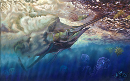 In this vision, skilled artist Jason Mathias masterfully portrays a Blue Marlin ripping through the surface turbulence as he ambushes a trolling lure for the Big Rock Blue Marlin fishing tournament out of Morehead city NC.