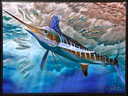 Fine art boat mats by renowned artist Jason Mathias. This beautiful welcome aboard mat features a beautiful White Marlin by Jason Mathias and is sure to dress up your yacht or boat, making for a unique  presentation.