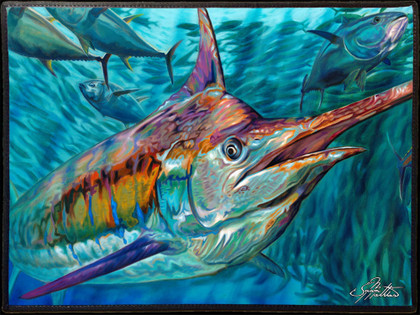 Fine art boat mats by renowned artist Jason Mathias. This beautiful welcome aboard mat features a beautiful Blue Marlin schooling up some Tuna by artist Jason Mathias and is sure to dress up your yacht or boat, making for a unique  presentation.  Mats should not be placed into a cloths washer or dryer. They should be washed using a scrub brush and BLEACH FREE laundry detergent, rinsed and lined dried. We recommend spray on carpet cleaner used according to the directions on the can. You can safely hose off the mats as you wish.  Mats should not be left out in direct sunlight as the art will fade.
