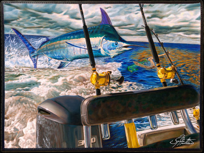 Fine art boat mats by renowned artist Jason Mathias. This beautiful welcome aboard mat features a giant Blue Marlin greyhounding on the port rigger by artist Jason Mathias and is sure to dress up your yacht or boat, making for a unique  presentation.  Mats should not be placed into a cloths washer or dryer. They should be washed using a scrub brush and BLEACH FREE laundry detergent, rinsed and lined dried. We recommend spray on carpet cleaner used according to the directions on the can. You can safely hose off the mats as you wish.  Mats should not be left out in direct sunlight as the art will fade.