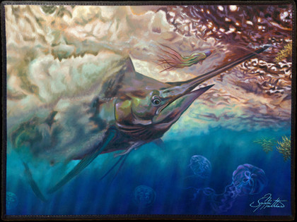 Fine art boat mats by renowned artist Jason Mathias. This beautiful welcome aboard mat features a beautiful Blue Marlin getting ready to pounce on the rigger by artist Jason Mathias and is sure to dress up your yacht or boat, making for a unique  presentation.  Mats should not be placed into a cloths washer or dryer. They should be washed using a scrub brush and BLEACH FREE laundry detergent, rinsed and lined dried. We recommend spray on carpet cleaner used according to the directions on the can. You can safely hose off the mats as you wish.  Mats should not be left out in direct sunlight as the art will fade.