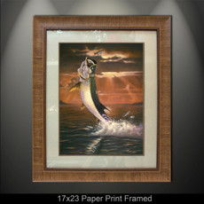 """Framed prints"" by artist Jason Mathias masterfully portrays a shimmering Tarpon framed against a blazing sunset as it leaps for a Silver Mullet. This item features ""Golden Moment"" in a large framed giclee limited edition paper print. Print size is ""17x23"", frame size is ""29.5x35.5"". Beautifully framed with a nice honey color wood finish and professionally doubble matted for that high end museum quality fine art look."