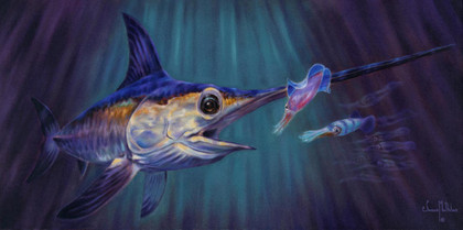 In this vision, skilled artist Jason Mathias masterfully portrays an elusive Broadbill Swordfish dominating a school of squid in it's deep water realm.  Printing: Jason Mathias fine art posters are created from a lithograph printing process. A traditional printing process that has proven its value through time.