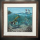 """This item features """"Tarpon Fever"""" in a Mini framed limited giclee paper print. Print size is """"12x12"""", frame size is """"20x20"""". Beautifully framed with a nice wormwood frame and professionally doubble matted for that high end museum quality fine art look.   In this vision, skilled artist Jason Mathias masterfully portrays this split-perspective scene, a Tarpon in choppy water slurps a well-presented fly."""