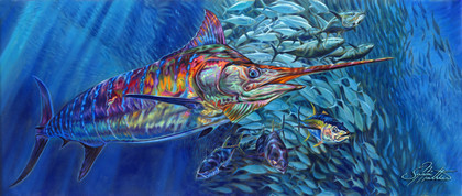 """In this vision, skilled artist Jason Mathias masterfully portrays a massive Blue Marlin lighting up with a unique color pallet as the marlin muscles his way through a massive Yellowfin tuna baitball.  ORIGINAL: Traditional painting,""""24x57"""" oil on canvas."""
