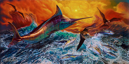 "In this pelagic vision, renowned artist Jason Mathias portrays a chaotic yet mystically beautiful sunset scene with a massive Blue Marlin exploding over an ocean wave and scattering a school of feeding tunas as frigate birds circle overhead.   ORIGINAL: Traditional painting,""24x48"" oil on canvas.  Original comes with a museum quality custom frame job.  Year completed (2016)"