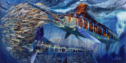 In this magnificent oil painting, renowned artist Jason Mathias portrays a couple of White Marlin totally lit up as they hunt a massive baitball.