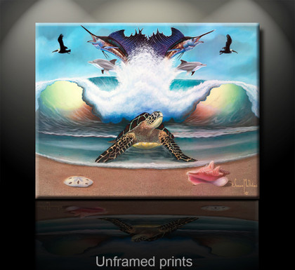 """Unframed prints"" of Beach Bizarre by artist Jason Mathias portrays a Green Sea Turtle emerging out of the surf from a water world of Sailfish and Dolphins to greet the beach that ensures the next generation."