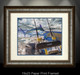 """Framed fine art prints"" of Port Rigger by artist Jason Mathias, a Blue Marlin painting depicting the exciting life of sport fishing and the spectacular scenes displayed by big gamefish."