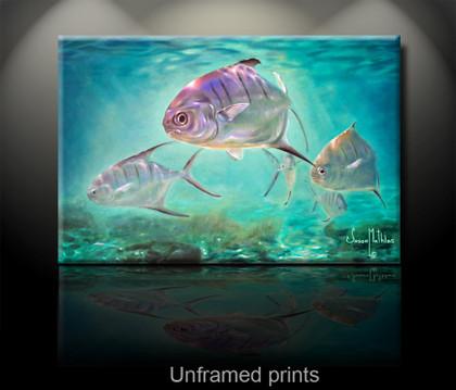 """Unframed prints"" by artist Jason Mathias masterfully portrays a school of nimble Palometa Pompano cut through blue-water shallows."