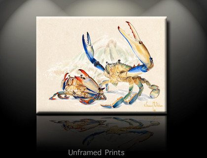 """Blue Crab, Unframed prints""  by artist Jason Mathias masterfully portrays a male Bluecrab defending his mate with a lightly suggested mangrove habitat in the background."