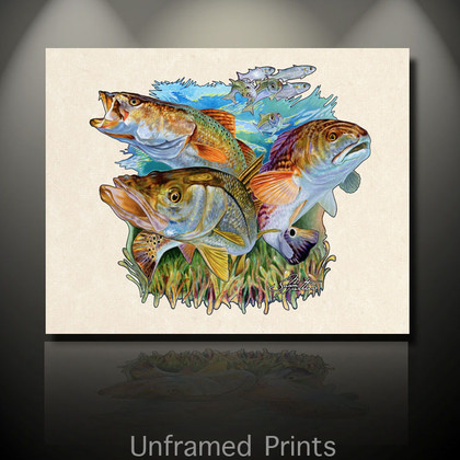 """'Unframed Prints of Inshore Slam"""" by artist Jason Mathias masterfully portrays a beautiful and accurate rendition of an inter coastal backwater environment featuring the three most prized species, Redfish, Snook and Trout."""