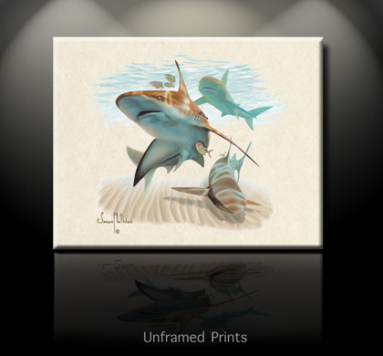 """Unframed Prints Sandbar Shark"" by artist Jason Mathias masterfully portraying a hulky Sandbar Shark patroling the coastal sandy shoreline for a meal."
