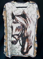 Horse design on Polyester/Spandex fabric.  One size fits most