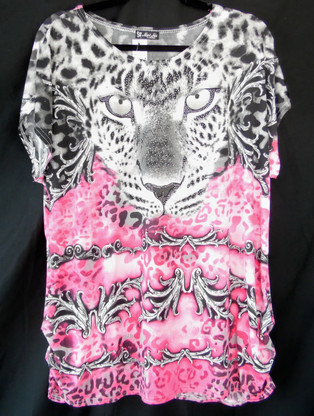 Short Sleeve Pink and Black animal print with rhinestones.  Fabric is 95% polyester & 5% spandex.  One size fits most.