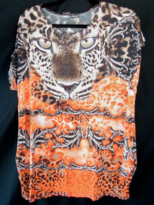 Short Sleeve Animal Print Top in a combination of Orange & Brown colors with Rhinestones.  Fabric is 95% polyester & 5% Spandex.  One size fits most, S-XL.  All the dots you are Rhinestones