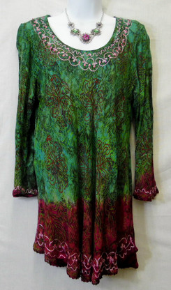 3/4 sleeve, FREE SIZE, 100% easy care Rayon, wash cold and hang dry for no shrinkage