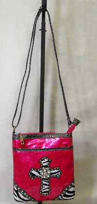 Hot Pink Purse with Zebra accenting and shoulder strap