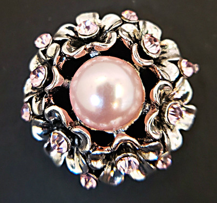 Pink Pearl Center Stone accented w/Pink Crystals