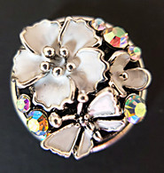 Combination of White Enamel Flowers & Butterfly accented w/Clear Crystals