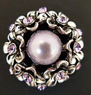 Light Grey Center Pearl surrounded by Flowers w/AB Clear Crystals