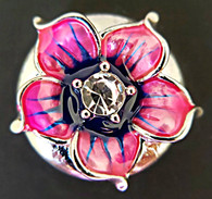Pink/Purple Enamel Flower w/Clear Crystal Center