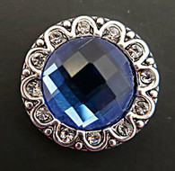 Medium Blue Faceted Crystal surrounded by Clear Crystals