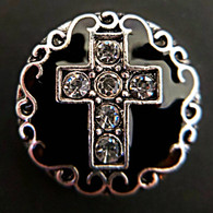 Cross w/Clear Crystals on Black Enamel