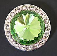 Green Faceted Crystal surrounded with Clear Rhinestone Crystals