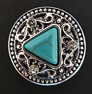 Turquoise Tri-Angle Center Stone w/Clear Crystal Rhinestone Accents