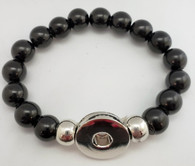 Black Obsidian Bead Stretch Bracelet